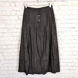 Vintage Golden Bear Black Suede Leather Skirt